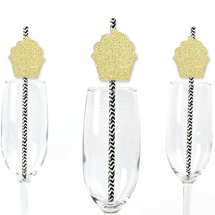 Gold Glitter Cupcake Party Straws - No-Mess Real Gold Glitter Cut-Outs and Decorative Bakery Birthday Party or Baby Shower Paper Straws - Set of 24