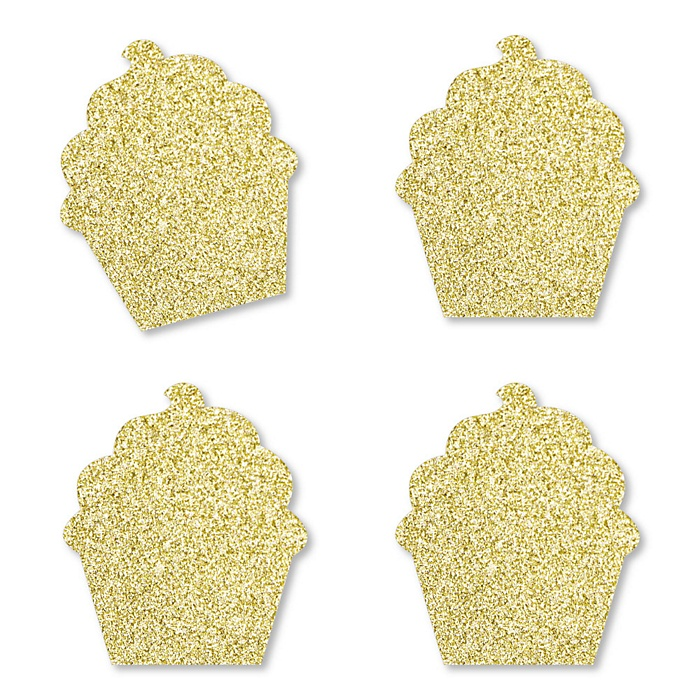 Gold Glitter Cupcake - No-Mess Real Gold Glitter Cut-Outs - Bakery Birthday Party or Baby Shower Confetti - Set of 24