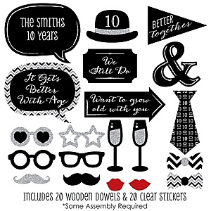 Custom Anniversary - 20 Piece Photo Booth Props Kit