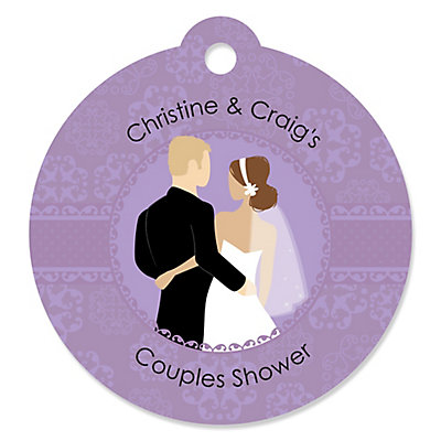 custom wedding couples purple round personalized bridal shower tags bigdotofhappinesscom