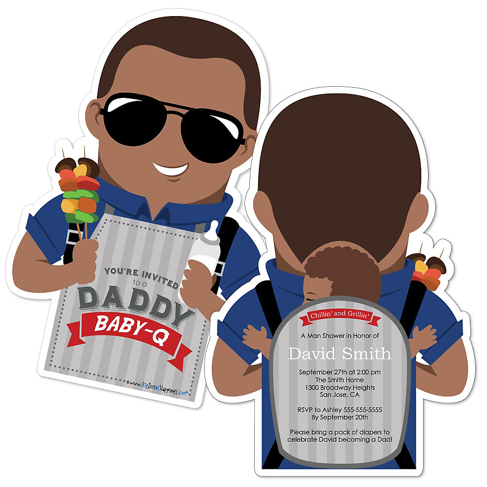 Daddy baby q african american shaped man shower invitations loading filmwisefo
