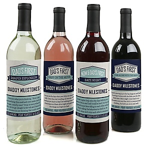 Daddy's First Milestones - Decorations for Women and Men - Wine Bottle Label Stickers - Set of 4