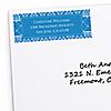 Damask Blue - Personalized Bridal Shower Return Address Labels - 30 ct