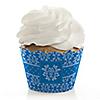 Damask Blue - Bridal Shower Cupcake Wrappers & Decorations
