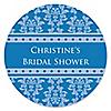 Damask Blue - Personalized Bridal Shower Sticker Labels - 24 ct