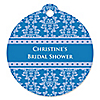 Damask Blue - Round Personalized Bridal Shower Tags - 20 ct