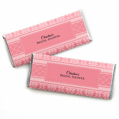 damask salmon pink personalized candy bar wrappers bridal shower favors set of 24 bigdotofhappinesscom
