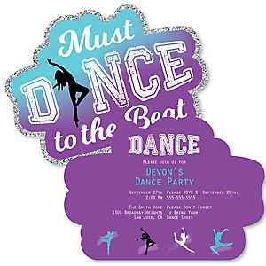 Must Dance to the Beat - Dance - Shaped Birthday Party Invitations - Set of 12