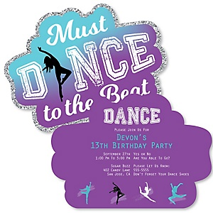 Must Dance to the Beat - Dance - Shaped  Dance Party Invitations - Set of 12