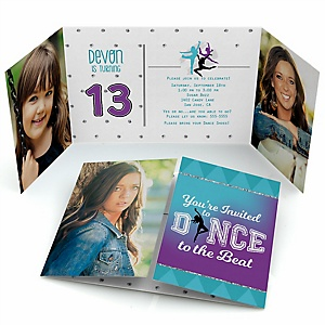Must Dance to the Beat - Dance - Personalized  Dance Party Photo Invitations - Set of 12