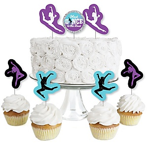 Must Dance to the Beat - Dance - Dessert Cupcake Toppers - Birthday Party or Dance Party Clear Treat Picks - Set of 24