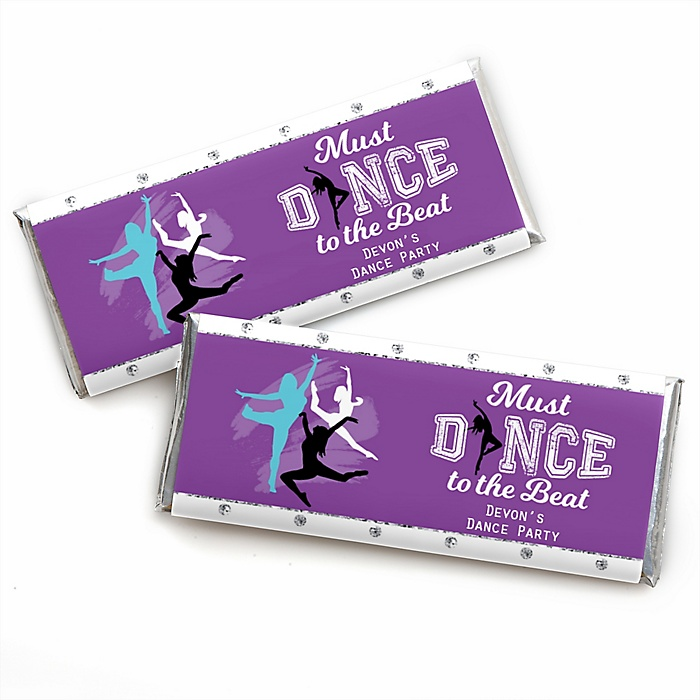 Must Dance to the Beat - Dance - Personalized Candy Bar Wrapper Birthday Party or Dance Party Favors - Set of 24