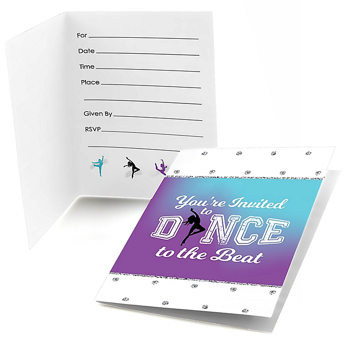 Must Dance to the Beat - Dance - Fill In Birthday Party or Dance Party Invitations - 8 ct