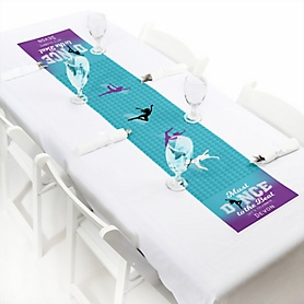 "Must Dance to the Beat - Dance - Personalized Petite Birthday Party or Dance Party Table Runner - 12"" x 60"""