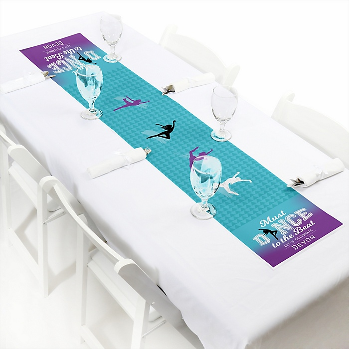 """Must Dance to the Beat - Dance - Personalized Petite Birthday Party or Dance Party Table Runner - 12"""" x 60"""""""