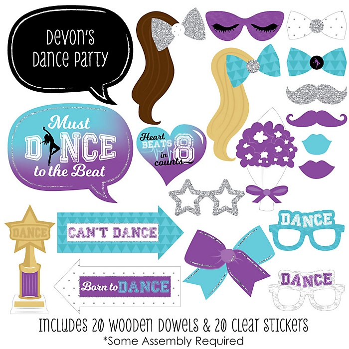 Must Dance to the Beat - Dance - 20 Piece Birthday Party or Dance Party Photo Booth Props Kit