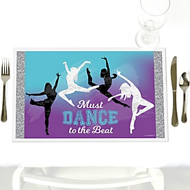 Must Dance to the Beat - Dance - Party Table Decorations - Birthday Party or Dance Party Placemats - Set of 12
