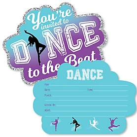 Must Dance to the Beat - Dance - Shaped Fill-In Invitations - Birthday Party or Dance Party Invitation Cards with Envelopes - Set of 12