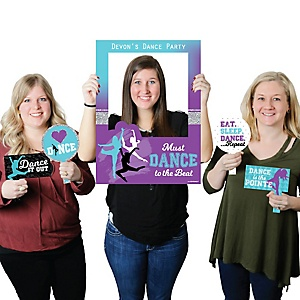 Must Dance to the Beat - Dance - Personalized Birthday Party or Dance Party Selfie Photo Booth Picture Frame & Props - Printed on Sturdy Material