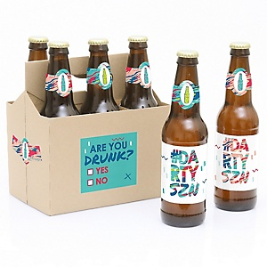 Darty SZN - Day Drinking Party Season - Decorations for Women and Men - 6 Beer Bottle Label Stickers 1 Carrier
