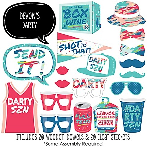 Darty SZN - 20 Piece Day Drinking Party Season Photo Booth Props Kit