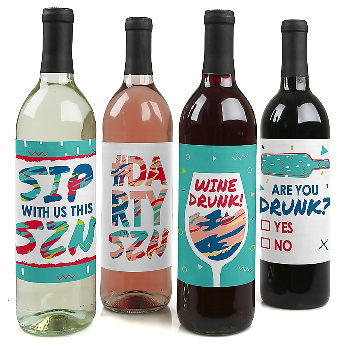 Darty SZN - Day Drinking Party Season Decorations for Women and Men - Wine Bottle Label Stickers - Set of 4