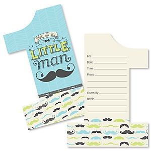 1st Birthday Dashing Little Man Mustache Party - Shaped Fill-In Invitations - First Birthday Party Invitation Cards with Envelopes - Set of 12