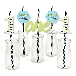 1st Birthday Dashing Little Man Mustache Party - Paper Straw Decor - First Birthday Party Striped Decorative Straws - Set of 24
