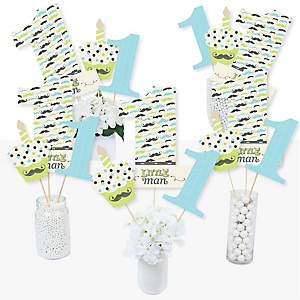 1st Birthday Dashing Little Man Mustache Party - First Birthday Party Centerpiece Sticks - Table Toppers - Set of 15