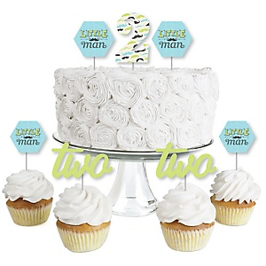 2nd Birthday Dashing Little Man Mustache Party - Dessert Cupcake Toppers - Second Birthday Party Clear Treat Picks - Set of 24