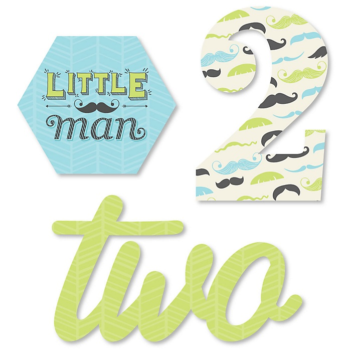 2nd Birthday Dashing Little Man Mustache Party - DIY Shaped Second Birthday Party Cut-Outs - 24 ct