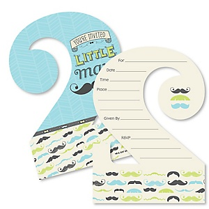 2nd Birthday Dashing Little Man Mustache Party - Shaped Fill-In Invitations - Second Birthday Party Invitation Cards with Envelopes - Set of 12