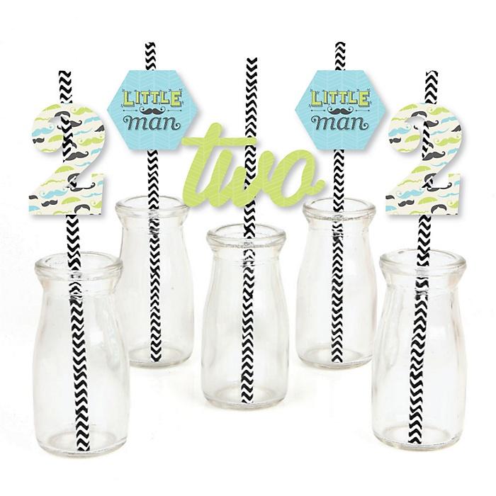 2nd Birthday Dashing Little Man Mustache Party - Paper Straw Decor - Second Birthday Party Striped Decorative Straws - Set of 24