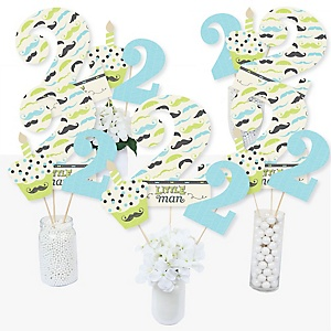 2nd Birthday Dashing Little Man Mustache Party - Second Birthday Party Centerpiece Sticks - Table Toppers - Set of 15