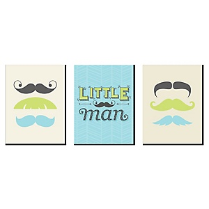 Dashing Little Man - Baby Boy Nursery Wall Art and Mustache Kids Room Decor - 7.5 x 10 inches - Set of 3 Prints