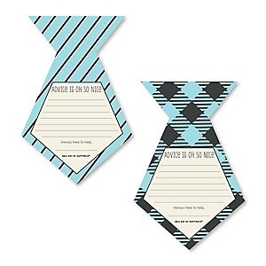 Dashing Little Man Mustache Party - Tie Shaped Baby Shower Advice Cards - Set of 12