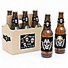Day Of The Dead - Halloween Sugar Skull - 6 Beer Bottle Label Stickers and 1 Carrier