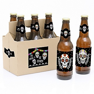 Day Of The Dead - Halloween Sugar Skull - Decorations for Women and Men - 6 Beer Bottle Label Stickers and 1 Carrier