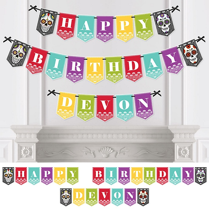 Day Of The Dead - Personalized Halloween Sugar Skull Birthday Party Bunting Banner and Decorations