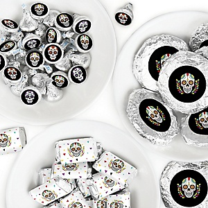 Day Of The Dead - Mini Candy Bar Wrappers, Round Candy Stickers and Circle Stickers - Halloween Sugar Skull Party Candy Favor Sticker Kit - 304 Pieces
