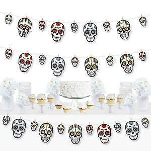 Day Of The Dead - Halloween Sugar Skull Party DIY Decorations - Clothespin Garland Banner - 44 Pieces