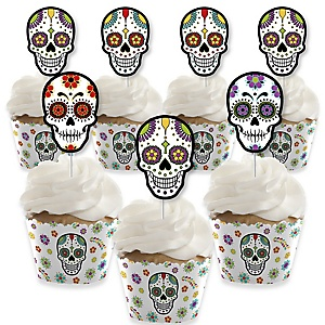 Day Of The Dead - Cupcake Decorations - Halloween Sugar Skull Party Cupcake Wrappers and Treat Picks Kit - Set of 24