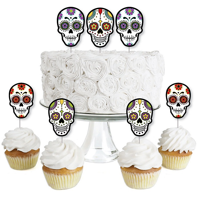 Day Of The Dead - Dessert Cupcake Toppers - Halloween Sugar Skull Party Clear Treat Picks - Set of 24