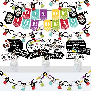 Day Of The Dead - Banner and Photo Booth Decorations - Halloween Sugar Skull Party Supplies Kit - Doterrific Bundle