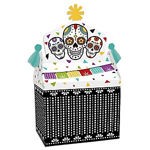 Day Of The Dead - Treat Box Party Favors - Halloween Sugar Skull Party Goodie Gable Boxes - Set of 12