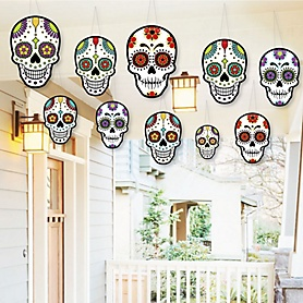 Hanging Day Of The Dead - Outdoor Dia de los Muertos Hanging Porch & Tree Decorations - 10 Pieces