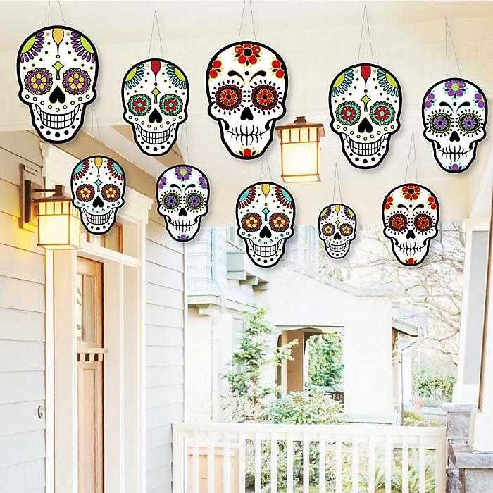 Hanging Day Of The Dead - Outdoor Dia de los Muertos Hanging Porch & Tree Decorations - 10 Pieces