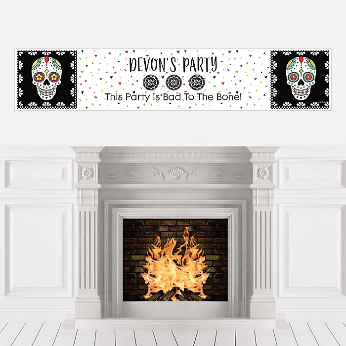 Day Of The Dead - Personalized Halloween Sugar Skull Party Banner