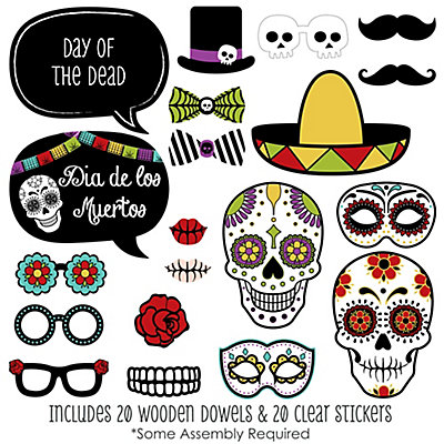 day of the dead 20 piece halloween sugar skulls photo booth props kit bigdotofhappinesscom