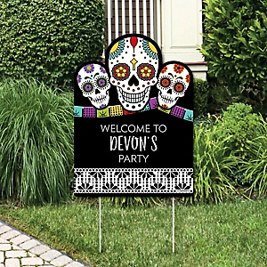 Day Of The Dead - Party Decorations - Halloween Sugar Skull Party Personalized Welcome Yard Sign